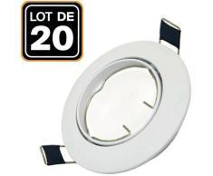 Lot de 20 Support Spot LED Orientable Rond D90 Blanc