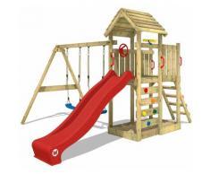 Aire de jeux bois WICKEY MultiFlyer portique avec toit en bois, balançoire, mur d'escalade et