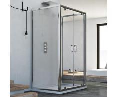 Cabine de douche en forme U saloon verre transparent h 185 mod. Sintesi Trio 2 portillons 75X120X75