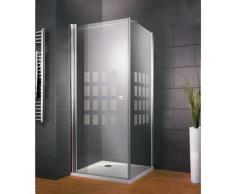 Porte de douche pivotante 90 x 90 cm + paroi latérale fixe, verre 5 mm, décor Cubic, Style 2.0,