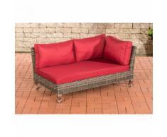 Canapé d'angle Moss rond/gris métallique Rouge rubin