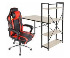 Bureau avec étagère + Fauteuil Gamer - noir/rouge - Chêne-rouge-noir