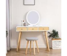 Oobest - Coiffeuse avec Miroir et Tabouret Table de Maquillage 3 Grands Tiroirs Miroir Rond Style