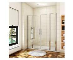 porte de douche battante 180x187cm porte battante avec 2 éléments fixes en 6mm verre anticalcaire