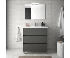 Meuble de salle de bain sur le sol 80 cm gris opaque avec lavabo en porcelaine   Avec colonne,