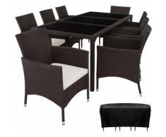 Salon de jardin VALENCIA - 8 Places 1 Table en Résine Tressée Structure Acier Marron + Housse de