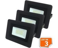 Lot de 3 LED Projecteur Lampe 20W Noir 6000K IP65 Extra Plat