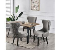 Life Interiors - MAYFAIR - Lot de 4 Chaises Capitonnées en Velours Gris Foncé - Style Contemporain