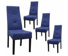 DALLAS - Lot de 4 Chaises Bleu Nuit Capitonnées - Bleu Foncé