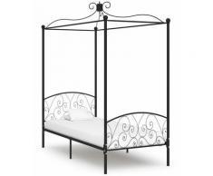 Cadre de lit à baldaquin Noir Métal 100 x 200 cm