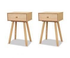 Helloshop26 - Table de nuit chevet commode armoire meuble chambre 2 pcs bois de pin massif 40 x 30