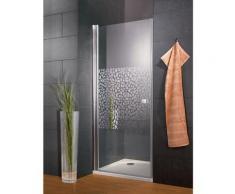 Porte de douche pivotante, 90 x 192 cm, verre 5 mm anticalcaire, profilé aspect chromé, Style 2.0,
