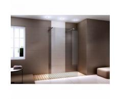 Espace de douche sans porte EX105 en verre véritable nano fumé - largeur sélectionnable : 1200mm