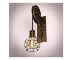 Lot de 2 Applique Industrielle Murale Vintage Rétro Lampe Abat-jour Cage Métal
