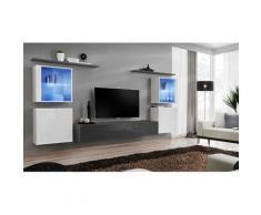 Price Factory - Ensemble meuble salon mural SWITCH XIV design, coloris gris et blanc brillant.