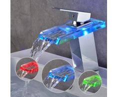 Mitigeur Lavabo Cascade LED RVB Robinet pour Lavabo et Vasque Salle de Bain Robinetterie Mitigeur