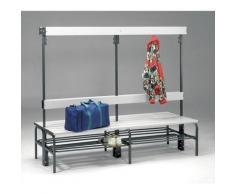 Banc pour vestiaire en acier, pour environnements humides - h x p 1600 x 695 mm - L 2000 mm, avec