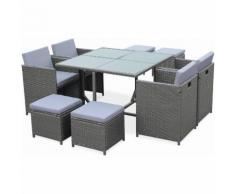 Salon de jardin Cubo gris table en résine tressée 4 à 8 places, fauteuils encastrables