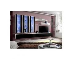 Price Factory - Meuble TV FLY E3 design, coloris blanc et noir brillant. Meuble suspendu moderne et