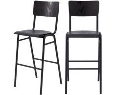 Chaise de bar écolier Clem en bois noir 75 cm (lot de 2) - Noir