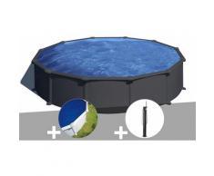 Kit piscine acier gris anthracite Juni ronde 5,70 x 1,32 m + Bâche à bulles + Douche - GRÉ