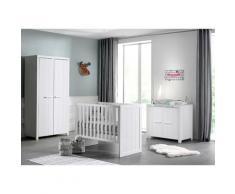 Chambre bébé 3 pièces lit commode et armoire 2 portes pin massif laqué blanc Erik 60x120 cm