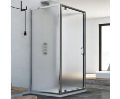 Cabine douche avec 3 côtés 75x80x75 AP. 80 CM H185 granité C modèle Sintesi Trio avec 1 portillon