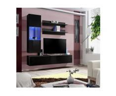 Meuble TV FLY H3 design, coloris noir brillant. Meuble suspendu moderne et tendance pour votre
