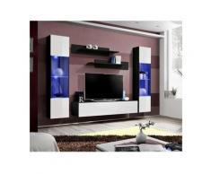 Meuble TV FLY A3 design, coloris noir et blanc brillant + LED. Meuble suspendu moderne et tendance