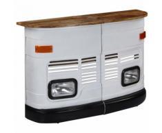 Hommoo Table de bar Forme de camion Bois de manguier massif Blanc