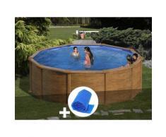 Kit piscine acier aspect bois Mauritius ronde 4,80 x 1,32 m + Bâche à bulles - GRÉ