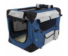 Cage boîte de transport pour chien tissu bleu et noir 60/42/42 cm