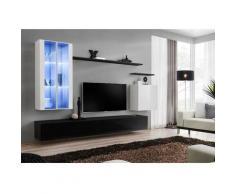 Ensemble meuble salon mural SWITCH XII design, coloris noir et blanc brillant. - Noir