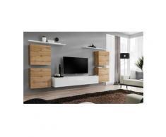 Price Factory - Ensemble meuble salon SWITCH IV design, coloris blanc et chêne Wotan. - Blanc