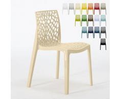 Chaise en polypropylène nid d'abeille cuisine bar café Gruvyer Beige - Grand Soleil
