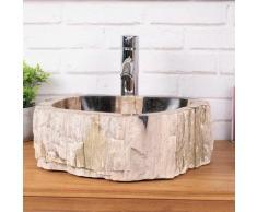 Wanda Collection - Lavabo de salle de bain en bois pétrifié fossilisé beige et noir 40 cm