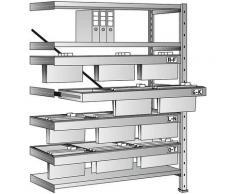Rayonnage emboîtable pour dossiers suspendus - hauteur 1920 mm, châssis à 3 rangées - rayonnage