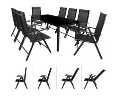 Salon de jardin en aluminium Anthracite ou argent Ensemble table et 8 chaises intérieur extérieur
