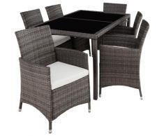 Tectake - Salon de jardin LISBONNE 6 places avec housse de protection - mobilier de jardin, meuble