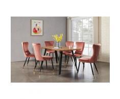 Table à Manger Vintage Coloris Chêne + 6 Chaises en Velours Rose - Style Scandinave