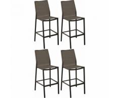 Chaises de bar en aluminium Ida (Lot de 4) Café