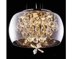 Suspension verre design LED et motifs cristal - Victoria - Argenté / Chromé