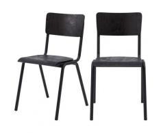 Chaise écolier vintage Clem en bois noir (lot de 2) - Noir
