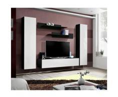 Ensemble meuble TV mural - Fly I - 260 cm x 190 cm x 40 cm - Noir et blanc - Livraison gratuite