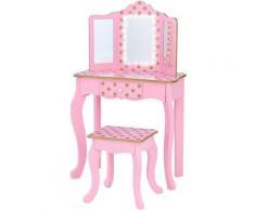 Coiffeuse enfant en bois table maquillage miroir éclairage tabouret Teamson TD-11670LL - Fantasy