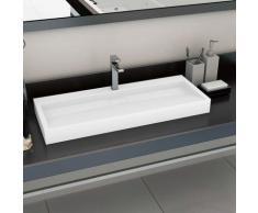 Lavabo 120x46x11 cm Fonte minérale/marbre Blanc