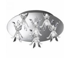 Un plafonnier en verre cristal et métal pour l'appartement