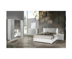 Altobuy - LANA - Chambre 160x200cm + Armoire 4 Portes