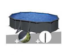 Kit piscine acier gris anthracite Juni ovale 6,34 x 3,99 x 1,32 m + Bâche d'hivernage + Douche - GRÉ