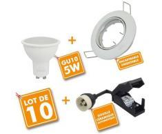 Lot de 10 Spot LED encastrable complet orientable blanc avec Ampoule GU10 230V 5W   Température de